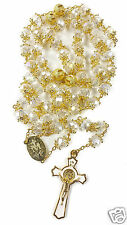 High Quality St Benedict Gold Plated White Clear Crystal Beads Miraculous Rosary