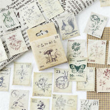 Vintage 46PCS Stamps Stickers Kawaii Stationery DIY Scrapbooking Diary Stickers
