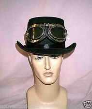 Cosplay Victorian Steampunk Black Top Hat with Silver Black Aviator Goggles