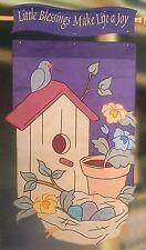 BIRDHOUSE HAVEN BIRD NEST GARDEN FLOWER POT APPLIQUE LARGE YARD FLAG NEW NCE