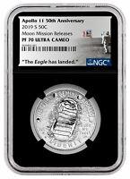 2019 S US Apollo 11 Clad Half Dollar Moon Mission Releases NGC PF70 Blk SKU58653