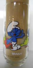 VINTAGE! 1982 Hardee's Smurf Collector Glass-Brainy Smurf