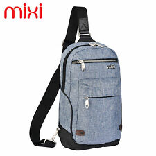 "Mixi 13"" Mens Crossbody Sling Chest Sports Bag Small School College Book Daypack"