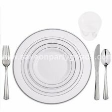120 Table Setting Elegant Disposable White/Silver Rimmed Plates-Cups-Cutlery