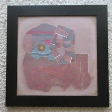 JOSE LOUIS SERRANO PAINTING MIXED MEDIUM ABSTRACT CUBISM LISTED MEXICO VINTAGE