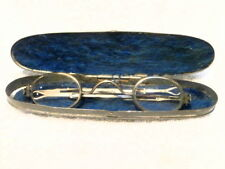 BEFORE CIVIL WAR SILVER EYEGLASSES WITH SLIDING TEMPLES IN A HINGED METAL CASE!