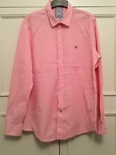 CREW CLOTHING CO. TAILORED FIT PINK , FINE CHECK, LONG SLEEVED COTTON SIZE XL