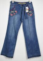 RRP €109 DESIGUAL DENIM CLAUDIA Women's W30 Embroider Floral Flare Jeans 11932*
