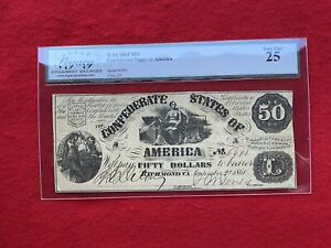 T-14 1861 $50 CSA Confederate States of America Note *Legacy 25 Very Fine*