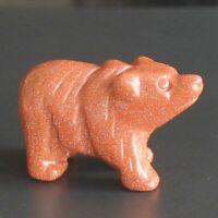 k40054  1.5'' Hand carved goldstone bear figurine animal carving