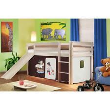 SixBros. Hochbett Kinderbett Rutsche Vorhang Pirat Kiefer weiß 90x200 SHB/61