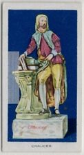 Statuette Of Poet Chaucer Staffordshire Glazed Pottery 1920s Ad Trade Card