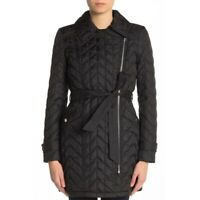 Karl Lagerfeld Asymmetrical Zip Quilted Coat Belted Black Women XS NEW $180