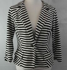 A.N.A A New Approach Black White Striped Fitted Jacket Size Large