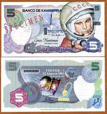 Specimen, Kamberra, Kingdom, 5 Numismas, 2011, UNC > Yuri Gagarin