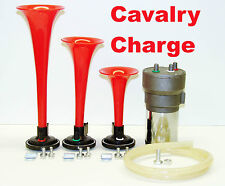 CALVARY CHARGE Musical Air Horn Kit 3 Trumpet s HD 12v Compressor Fun EZ Install