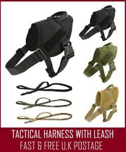 ARMY TACTICAL DOG HARNESS  WITH LEASH ADJUSTABLE  PADDED LARGE
