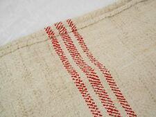Vtg Antique RED STRIPE European HEMP LINEN FEED SACK GRAIN BAG 19X41 no holes