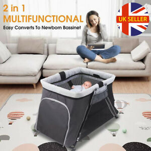 2 in 1 Folding Portable Travel Cot Cribs Baby Playpen Toddler Activity Center UK