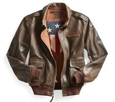 $2200 RRL Ralph Lauren 1940s Inspired distressed leather A-2 flight Jacket- XL