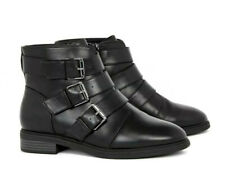Black Ankle Boots Womens Evans Wide Fit Low Heel Buckle Zip Size 8 New RRP £49