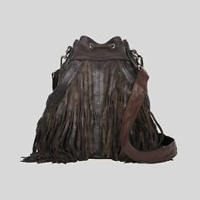 FREE PEOPLE PELECHECOCO DIEGO BROWN RECYCLED LEATHER FRINGE HANDBAG PURSE