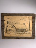 Handcrafted Barbara Flock Log Cabin Home Wooden Frame Cayuga Indiana Pencil Work