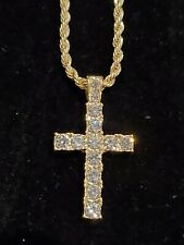 """Gold Plated Cross Iced Pendant 24"""" Rope Chain Necklace Jesus Christ GOD"""