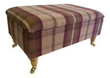 Large Long Storage Box/footstool Brass Castor Wooden Legs - Balmoral Heather