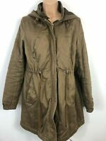 WOMENS H&M DIVIDED SIZE 40 UK 14 KHAKI DRAW STRING FITTED HOODED WINTER RAINCOAT