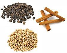 Combo - Black Peppercorns 100g - Coriander Seeds 100g - Cinnamon Quills 100g
