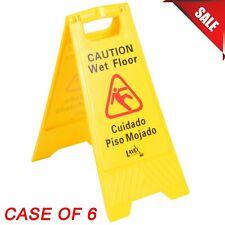 6 Pack Restaurant Caution Wet Floor Yellow 25 Folding Sign Commercial Plastic