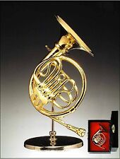 "Miniature Musical Instrument -3.5"" GOLD FRENCH HORN W/STAND & CASE (CGFH)"