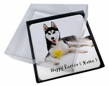 4x Personalised Name Husky Picture Table Coasters Set in Gift Box, AD-H55DA2C