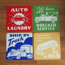 """Land Of Nod Set of 4 """"Vintage Style"""" Metal Transportation Truck Decorative Sign"""