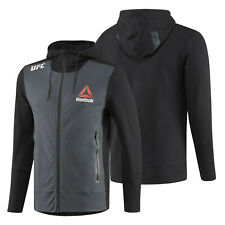 Reebok UFC FK Walkout Blank Black Gravel Hoodie Mens Full Zip UFC Jacket NEW