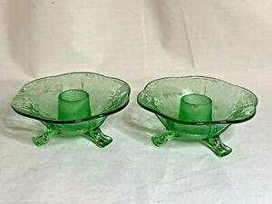 Fostoria elegant glass green Oak Leaf Brocade pattern pair of candlestick holder