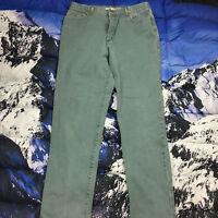 VTG Guess Men's Green Straight Leg Denim Jeans Size 36 Green Triangle Logo