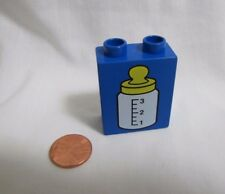 Rare Lego Duplo BABY BOTTLE PRINTED BLOCK Specialty Blue Piece
