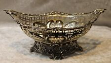 Antique Sterling Silver Filigree Basket -1879-Comyns & Sons-BEAUTIFUL!