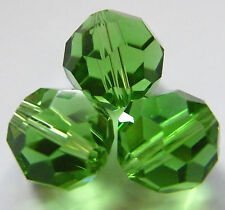 30pcs 12mm Faceted Round Crystal Beads - Green