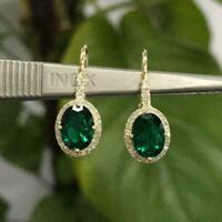 5.50Ct Oval Cut Green Emerald Drop & Dangle Hook Earrings 14K Yellow Gold Finish