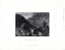 """Antiguo galés Impresiones - """"Pont aberglaslyn"""" - Radclyffe acero grabado (1872)"""
