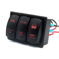 LED 3 Gang Scheinwerfer Licht Schaltpanel Schalter Schalttafel 12V Auto KFZ Rot