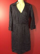 ANN TAYLOR Women's Navy Polka Dotted Dress - Size 2P - NWT $138