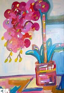 EXPRESSIONISM LARGE FLOWER PAINTING ORIGINAL WALL ART NEW BATHROOM DECOR IDEAS