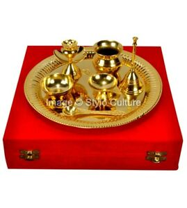 Silver Brass Traditional Gold Plated Brass Pooja Thali Set 7 Pcs Box Packing