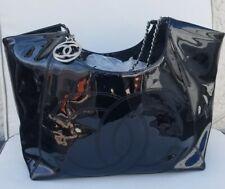 100% AUTHENTIC CHANEL Cabas Black Patent extra Large shoulder Bag