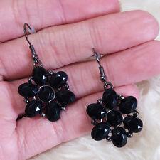 Flower Charms Dangle Drop Hook Earrings New Womens Fashion Black Plastic Petal