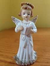 Vintage Lefton China Singing Angel Figurine RARE 6 Inches
